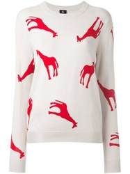 Paul Smith Ps By Giraffe Instarsia Knit Jumper Nude And Neutrals