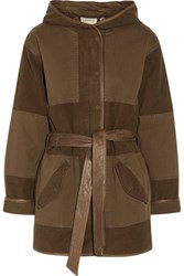 Current Elliott The Battlefield Leather Trimmed Cotton Blend Canvas Hooded Coat Army Green