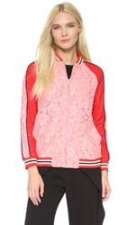Goen.J Lace Bomber Jacket Red Pink