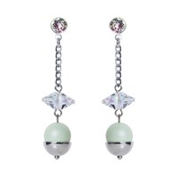Nadia Minkoff Pearl And Crystal Spike Earrings Mint Green Green Silver