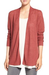Eileen Fisher Women's Organic Linen Shaped Cardigan Cinnabar
