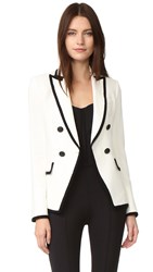 Veronica Beard Harriet Cutaway Contrast Blazer Off White