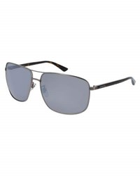Gucci Rectangular Metal Aviator Sunglasses Gray