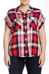 Como Vintage Short Sleeve Plaid Shirt Plus Size Red
