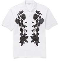 Alexander Mcqueen Slim Fit Flower Print Cotton Pique Polo Shirt White