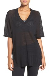 Free People Women's V Neck Mesh Tee Black