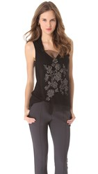 Vera Wang Sleeveless Tank With Floral Rhinestone Bib Black