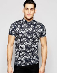 French Connection All Over Floral Polo Shirt Navy