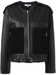 Iro Contrast Panel Cropped Jacket Black