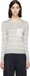Band Of Outsiders Grey And Pink Contrast Pocket Sweater
