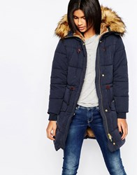Pepe Jeans Garland Parka With Faux Fur Hood 595Navy