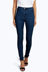 Boohoo High Waisted Skinny Jeans Dark Blue