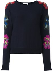 Chloe Floral Sleeve Jumper Blue