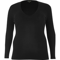 River Island Womens Ri Plus Black Ribbed Plunge Top