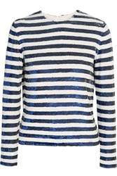 Ashish Sequined Striped Silk Georgette Top Blue
