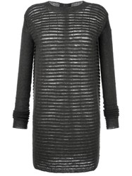 Rick Owens Sheer Stripe Knit Dress Grey