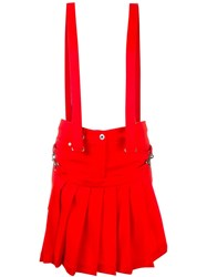Moschino Brace Strap Shorts Red