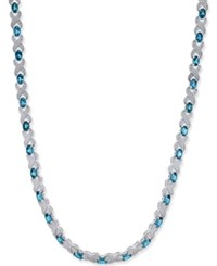 Macy's Blue Topaz 20 Ct. T.W. And Diamond Accent Collar Necklace In Sterling Silver