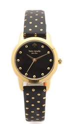 Kate Spade Metro Mini Polka Dot Strap Watch Gold Black