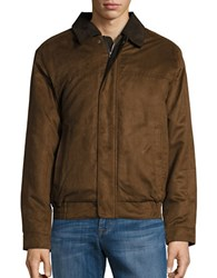 Weatherproof Faux Suede Zip Front Coat Dark Almond