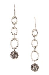 Lois Hill Sterling Silver Mix Ring Repousse Ball Drop Earrings Metallic