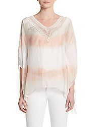 Saks Fifth Avenue Sequined Crochet Trimmed Silk Top Ivory Peach