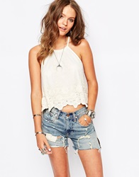 New Look Embroidered Cami Top Cream