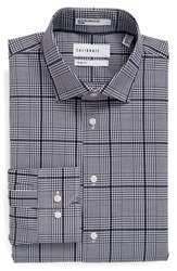 Calibrate Men's Big And Tall Trim Fit Non Iron Plaid Stretch Dress Shirt Navy Peacoat