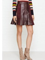 Just Cavalli Button Leather A Line Skirt Burgundy