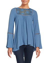 Cirana Mesh Panel Long Sleeve Blouse Denim