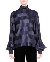 Giorgio Armani Striped Mock Neck Bell Sleeve Top Navy Navy Stripe