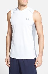 Men's Under Armour 'Raid' Heatgear Fitted Tank Top White Steel