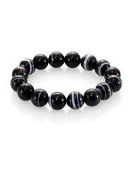 Nest Black Line Agate Beaded Stretch Bracelet Black Agate