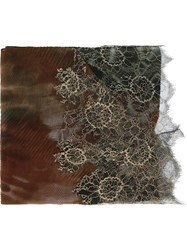 Valentino Lace Detail Printed Scarf Multicolour