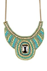 Sparkling Sage Bead Detailed And Rectangle Stone Bib Necklace Green