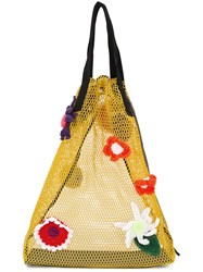 Christopher Kane Crochet Flower Mesh Shopper Yellow And Orange