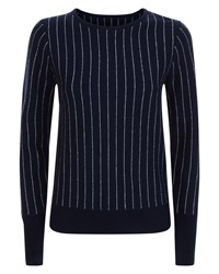 Jaeger Wool Cashmere Stripe Sweater Navy