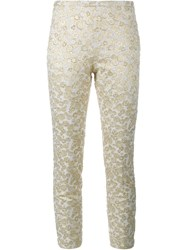 Rochas Embroidered Cropped Trousers Metallic
