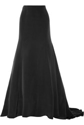 Lela Rose Silk Maxi Skirt Black