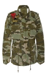 Mr And Mrs Italy Embroidery Canvas Camouflage Field Jacket Green