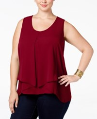 Ny Collection Plus Size Inverted Pleat Top Dark Very Berry