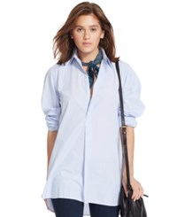 Polo Ralph Lauren Cotton Poplin Tunic Baby Blue White
