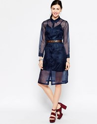 Antipodium Foxie Silk Shirt Dress With Metallic Slip Navy