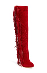 Lauren Lorraine 'Dolly' Fringe Boot Women Red Suede