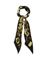 Rockins Flora Print Super Skinny Silk Scarf Black Gold