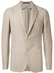 Tagliatore Two Button Woven Blazer Nude And Neutrals