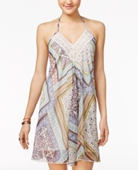 American Rag Printed Crochet Halter Dress Only At Macy's Cream Combo
