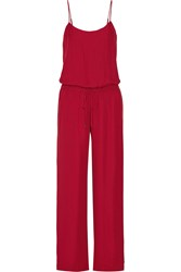Haute Hippie Silk Crepe Jumpsuit Red