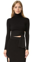 Cushnie Et Ochs Tie Back Knit Crop Top Black