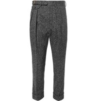 Wooster Lardini Slim Fit Tapered Pleated Wool Tweed Trousers Gray